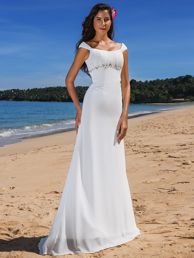 Sheath / Column Wedding Dresses Scoop Neck Sweep / Brush Train Chiffon Cap Sleeve Beach Plus Size with Beading Draping Button 2021