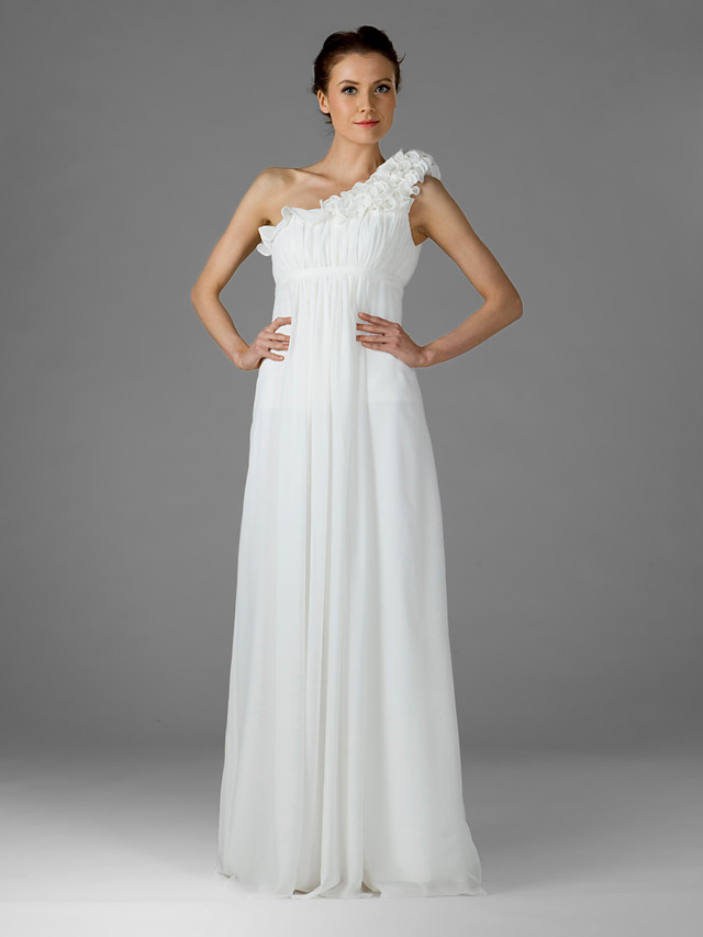Sheath / Column One Shoulder Floor Length Chiffon Bridesmaid Dress with Ruffles / Draping