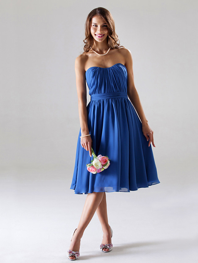 Ball Gown / A-Line Strapless / Sweetheart Neckline Tea Length Chiffon Bridesmaid Dress with Ruched / Draping