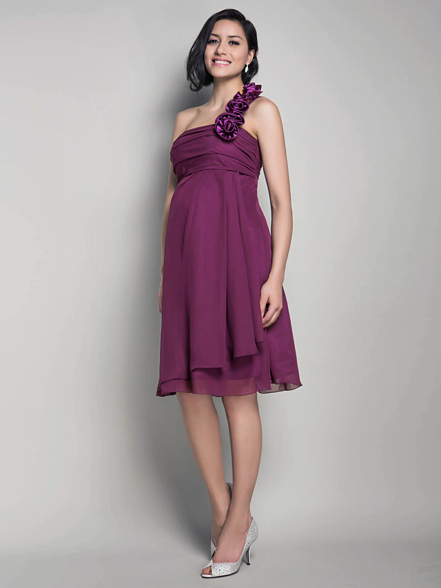 Princess / A-Line One Shoulder Knee Length Chiffon Bridesmaid Dress with Ruched / Flower