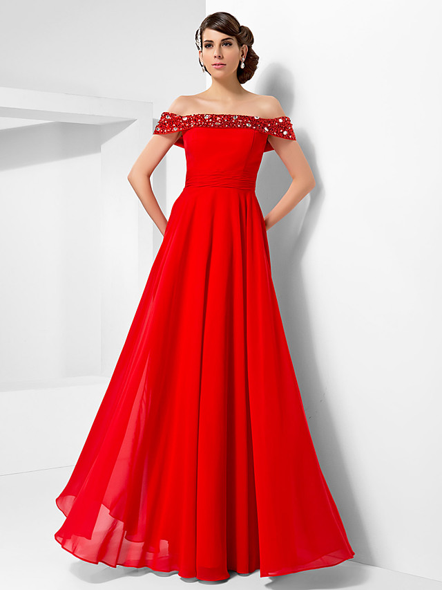 Ball Gown Open Back Formal Evening Military Ball Dress Off Shoulder Short Sleeve Floor Length Chiffon with Beading Draping 2020