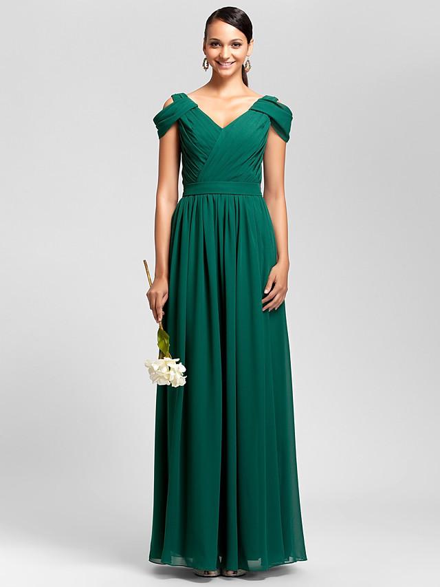 Sheath / Column V Neck Floor Length Chiffon Bridesmaid Dress with Draping / Sash / Ribbon / Criss Cross