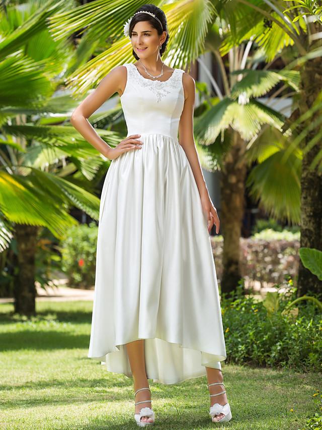 Princess A-Line Wedding Dresses Scoop Neck Asymmetrical Satin Sleeveless with Beading Appliques Pocket 2020