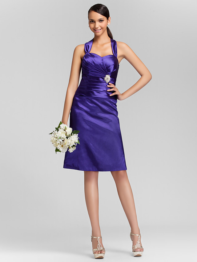 Sheath / Column Straps / Sweetheart Neckline Knee Length Stretch Satin Bridesmaid Dress with Criss Cross / Ruched / Crystal Brooch