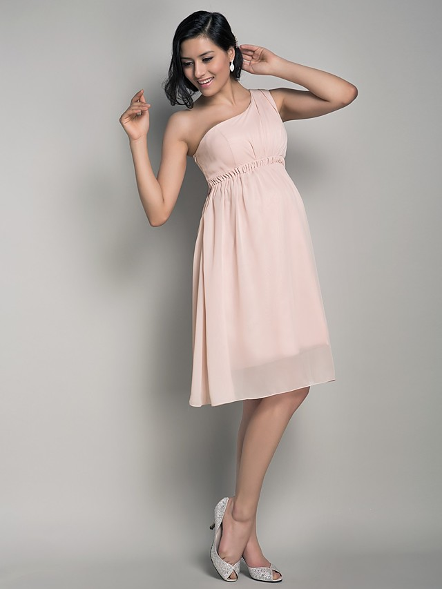 Ball Gown / A-Line One Shoulder Knee Length Chiffon Bridesmaid Dress with Draping / Side Draping / Maternity