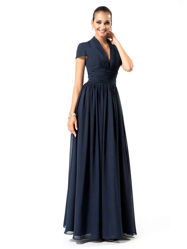 Sheath / Column Elegant Formal Evening Wedding Party Dress Plunging Neck Short Sleeve Floor Length Chiffon with Ruched Draping 2020