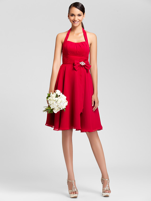 Princess / A-Line Halter Neck Knee Length Chiffon Bridesmaid Dress with Bow(s) / Ruched / Draping / Open Back
