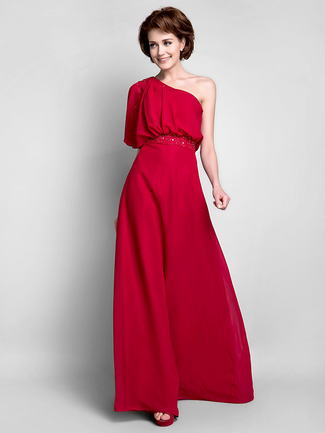 Sheath / Column Mother of the Bride Dress Elegant One Shoulder Floor Length Chiffon Half Sleeve with Beading Draping 2020