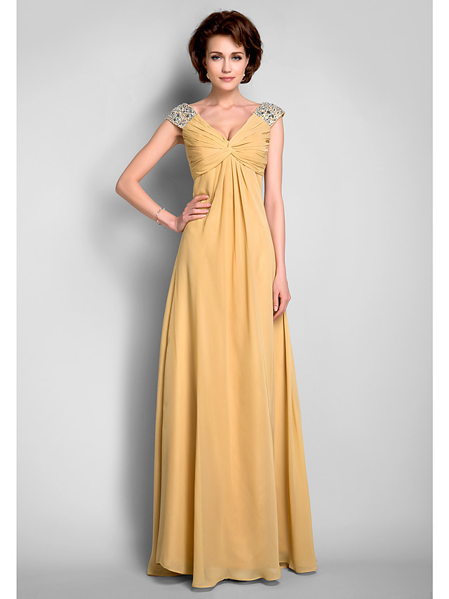 A-Line Mother of the Bride Dress V Neck Floor Length Chiffon Sleeveless with Criss Cross Beading Draping 2020