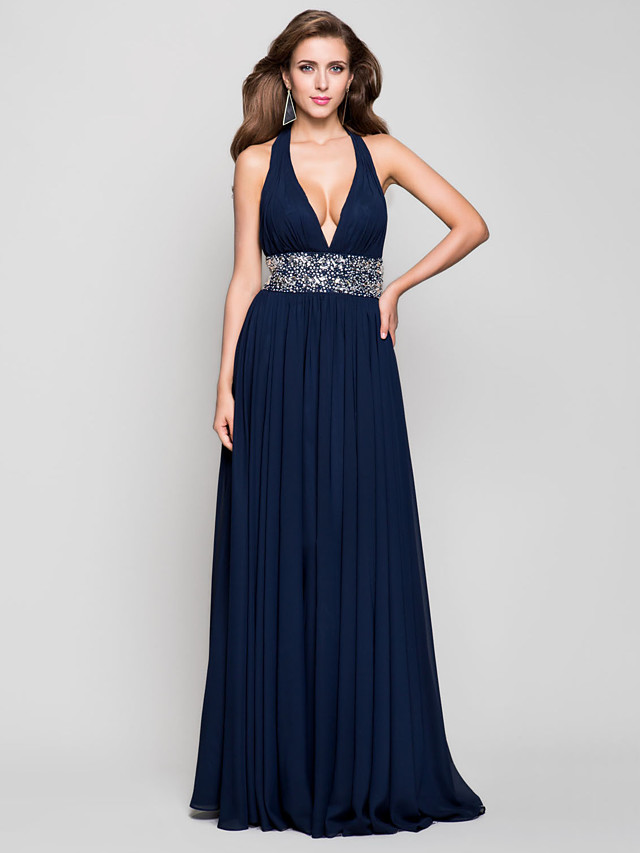 Sheath / Column Open Back Prom Formal Evening Military Ball Dress Plunging Neck Sleeveless Floor Length Chiffon with Beading Draping 2020