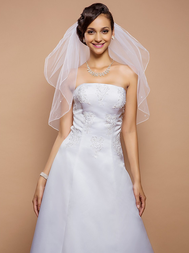 Two-tier Pencil Edge Wedding Veil Elbow Veils with Pearl 31.5 in (80cm) Tulle A-line, Ball Gown, Princess, Sheath / Column, Trumpet / Mermaid / Classic
