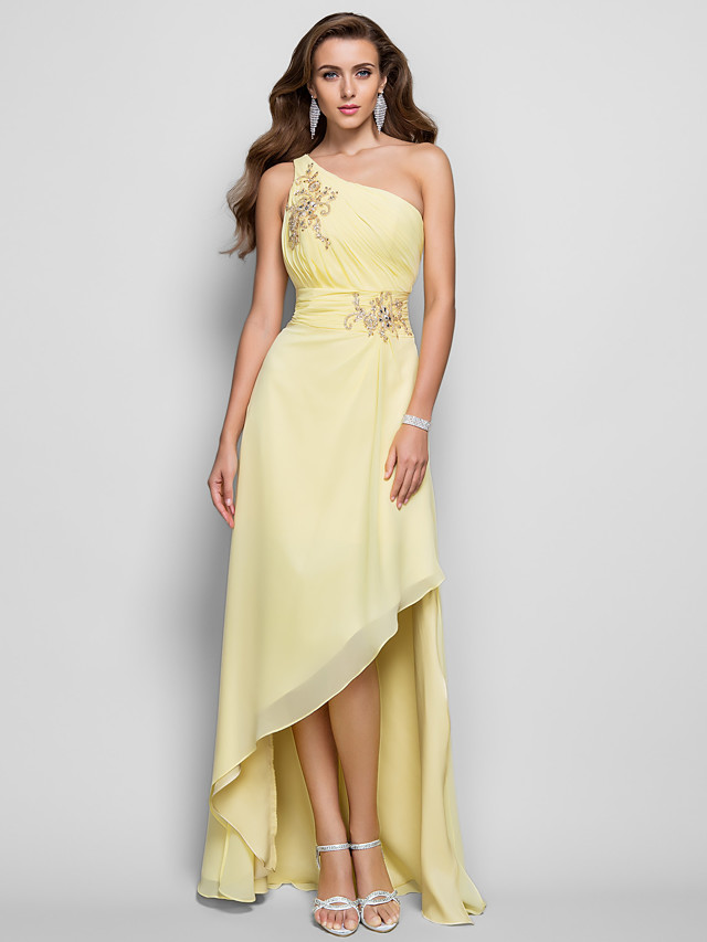 Sheath / Column Elegant Yellow Cocktail Party Prom Dress One Shoulder Sleeveless Asymmetrical Chiffon with Beading Split Appliques 2020