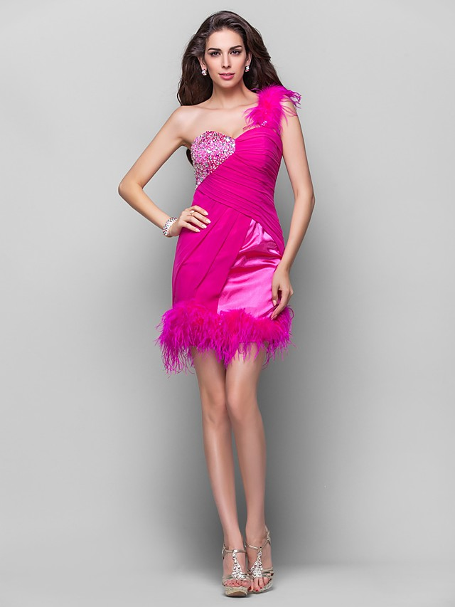 Back To School Ball Gown Open Back Homecoming Cocktail Party Prom Dress One Shoulder Sleeveless Short / Mini Chiffon Stretch Satin with Feathers / Fur Crystals Beading 2020 Hoco Dress