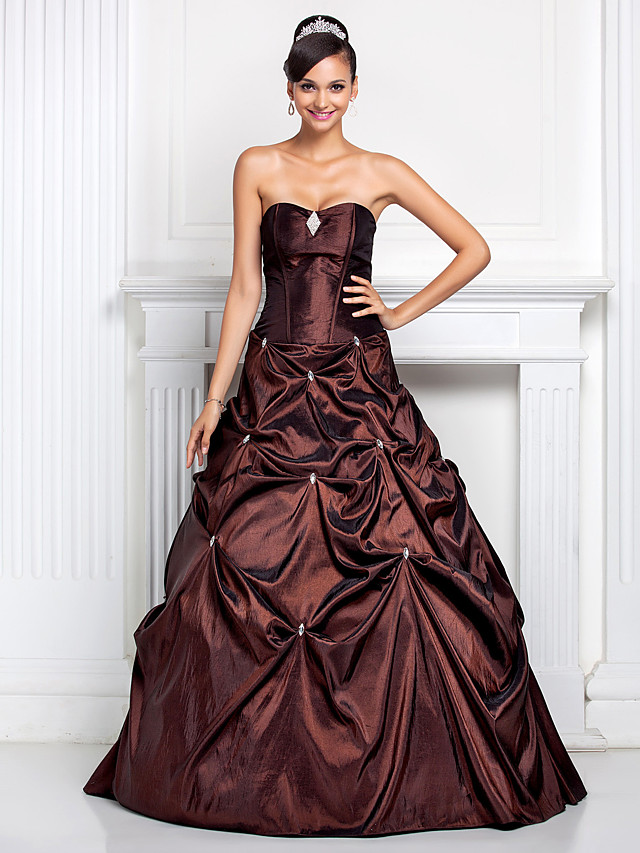 Ball Gown Open Back Quinceanera Prom Formal Evening Dress Strapless Sweetheart Neckline Sleeveless Floor Length Taffeta with Pick Up Skirt Crystals Crystal Brooch 2020