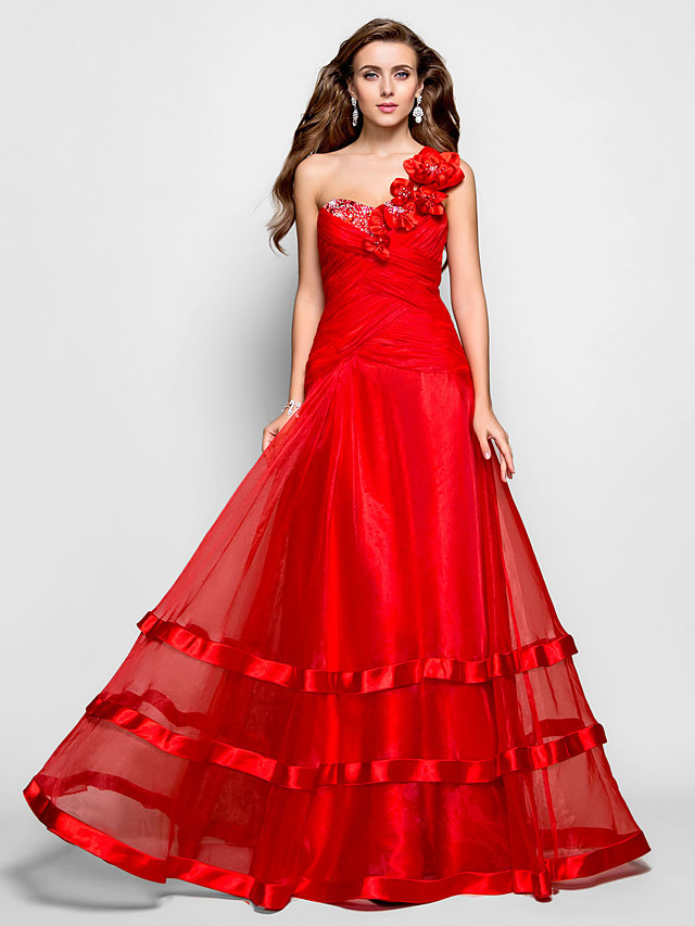 Ball Gown Floral Prom Formal Evening Military Ball Dress One Shoulder Sweetheart Neckline Sleeveless Floor Length Organza with Criss Cross Ruched Beading 2020