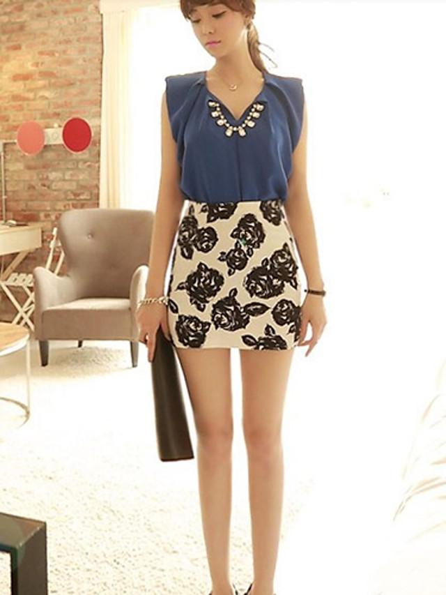 Women's Rose Print Zipper Skirt