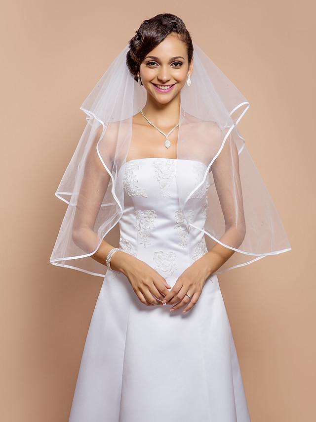 Two-tier Ribbon Edge Wedding Veil Elbow Veils with Rhinestone 31.5 in (80cm) Tulle A-line, Ball Gown, Princess, Sheath / Column, Trumpet / Mermaid / Classic
