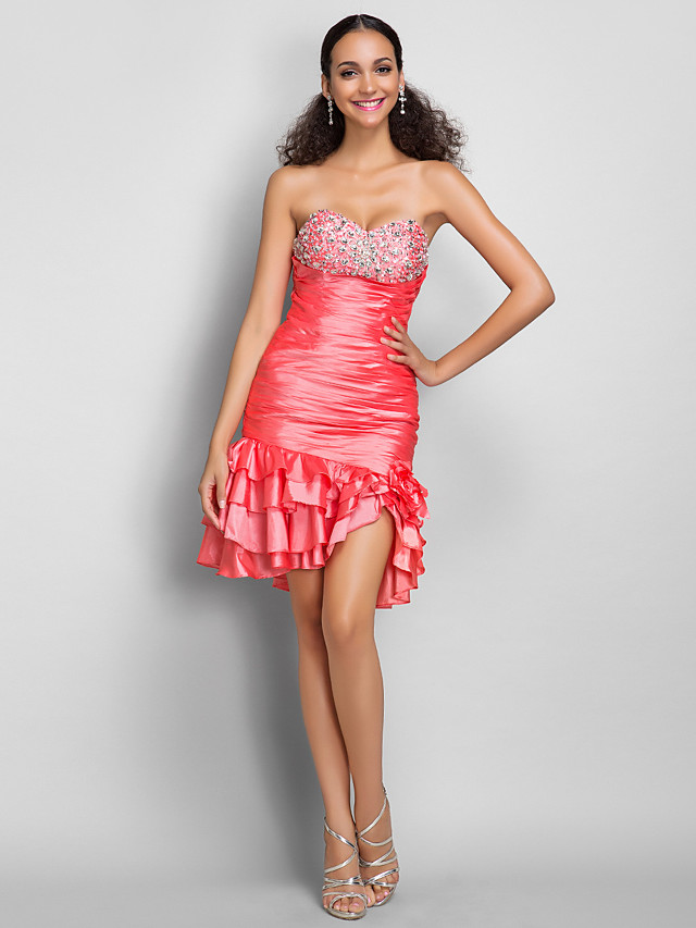 Sheath / Column Cocktail Party Dress Sweetheart Neckline Sleeveless Short / Mini Taffeta with Ruched Crystals Ruffles 2020