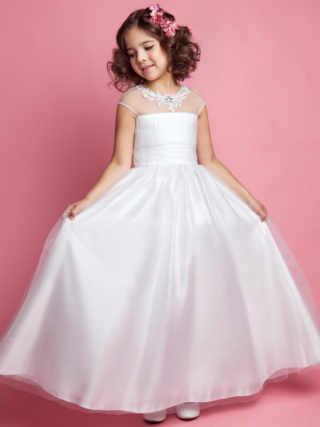 Princess / A-Line Floor Length Wedding / First Communion Tulle Sleeveless Jewel Neck with Ruched / Beading / Appliques