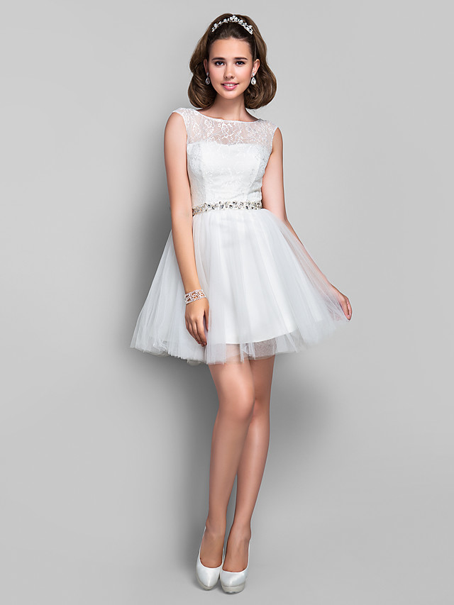 Ball Gown Cocktail Party Dress Illusion Neck Sleeveless Short / Mini Lace Tulle with Lace Crystals 2020