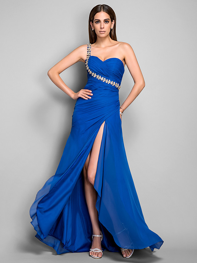 Sheath / Column Open Back Formal Evening Dress One Shoulder Sleeveless Asymmetrical Chiffon with Crystals Side Draping Split Front 2020