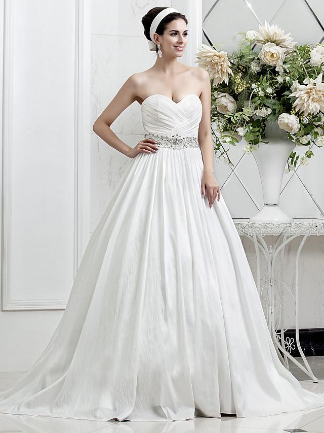 Princess A-Line Wedding Dresses Sweetheart Neckline Court Train Taffeta Sleeveless with 2020