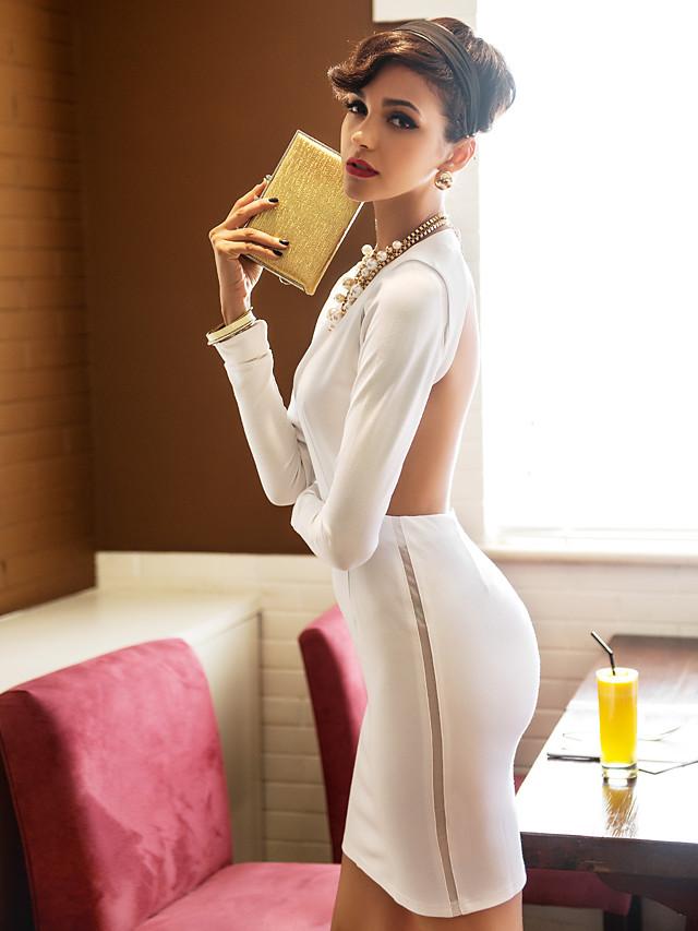 White Dress - Long Sleeve Summer White Black