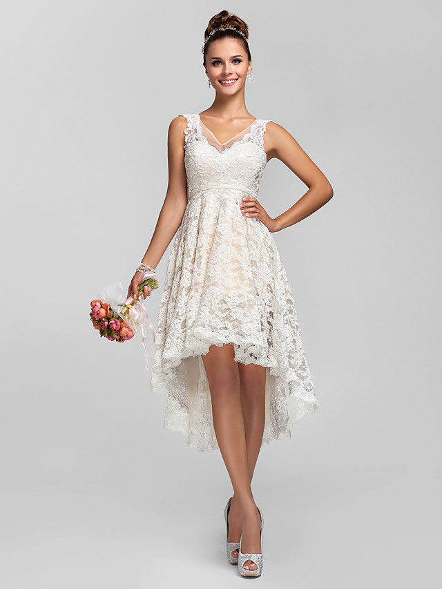 A-Line / Ball Gown V Neck Asymmetrical Sheer Lace Bridesmaid Dress with Lace / Pleats / See Through