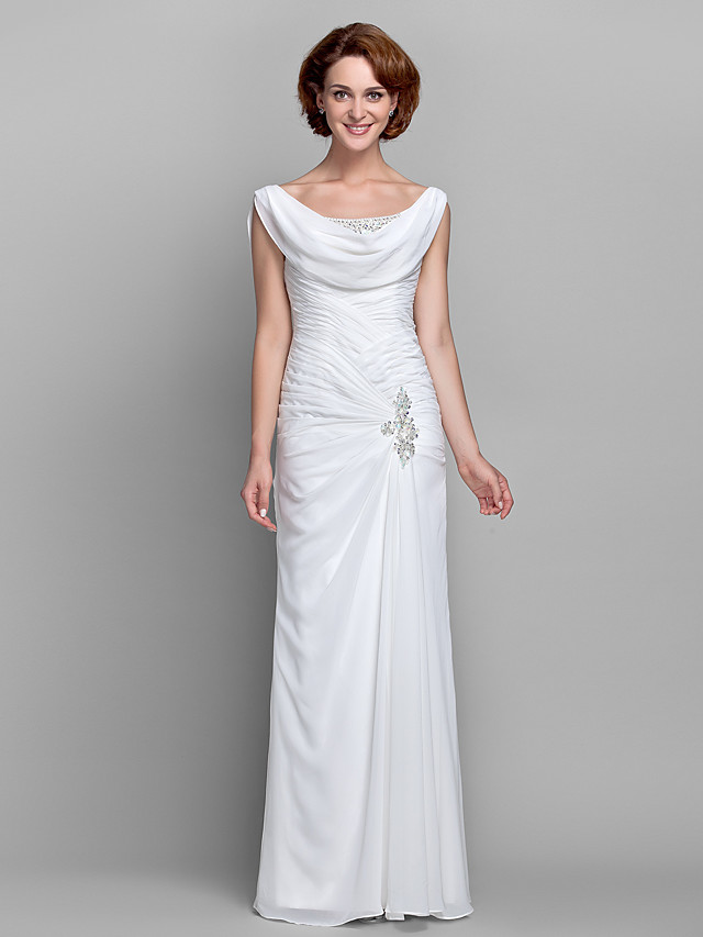 Sheath / Column Mother of the Bride Dress Vintage Inspired Cowl Neck Floor Length Chiffon Sleeveless with Buttons Criss Cross Crystals 2020
