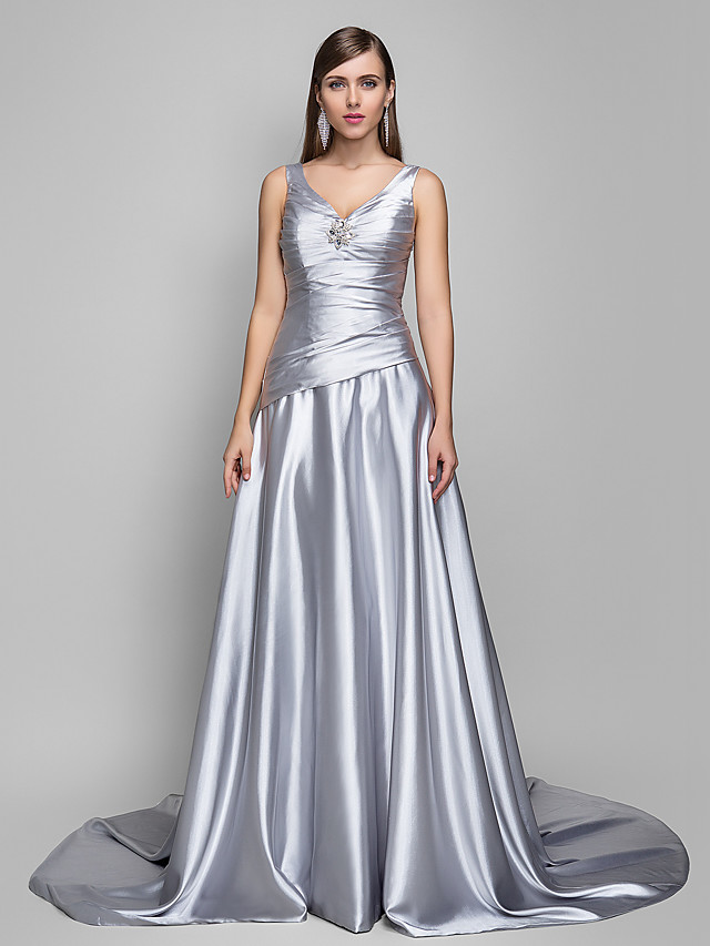 A-Line Open Back Formal Evening Dress V Neck Sleeveless Sweep / Brush Train Satin Chiffon with Criss Cross Side Draping 2020