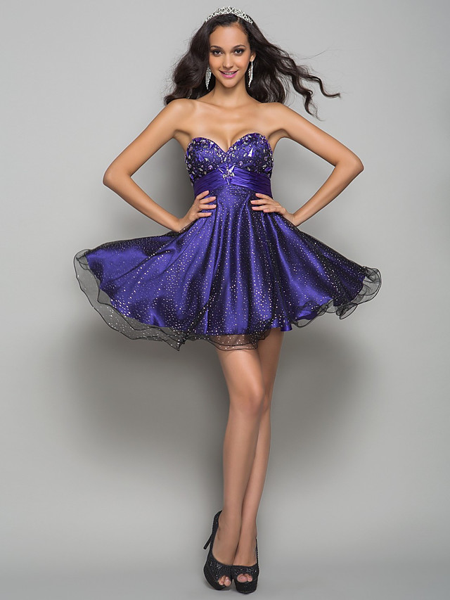 Ball Gown Homecoming Cocktail Party Prom Dress Strapless Sweetheart Neckline Sleeveless Short / Mini Tulle with Ruched Crystals Draping 2020 / Pattern / Print