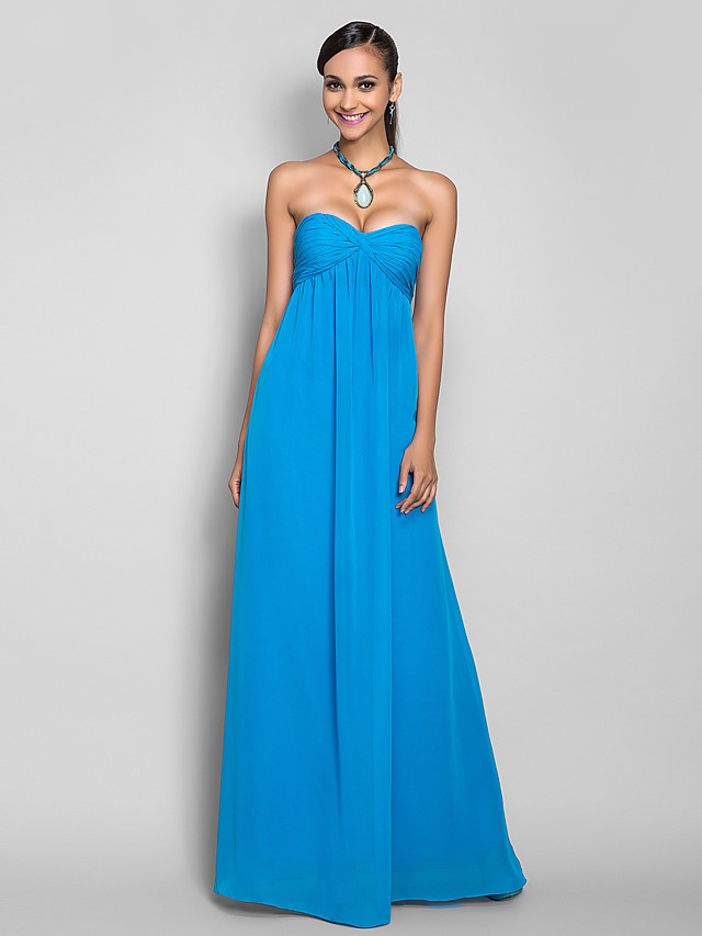Sheath / Column Open Back Prom Formal Evening Military Ball Dress Sweetheart Neckline Sleeveless Floor Length Chiffon with Criss Cross Ruched 2020