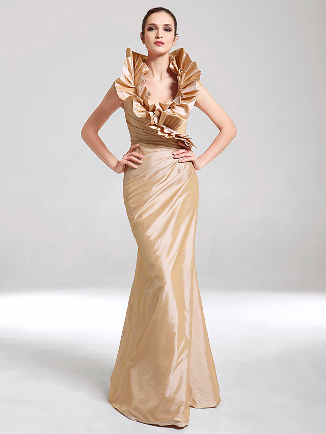 Mermaid / Trumpet Elegant Gold Party Wear Formal Evening Dress V Neck Sleeveless Floor Length Taffeta with Ruffles 2020