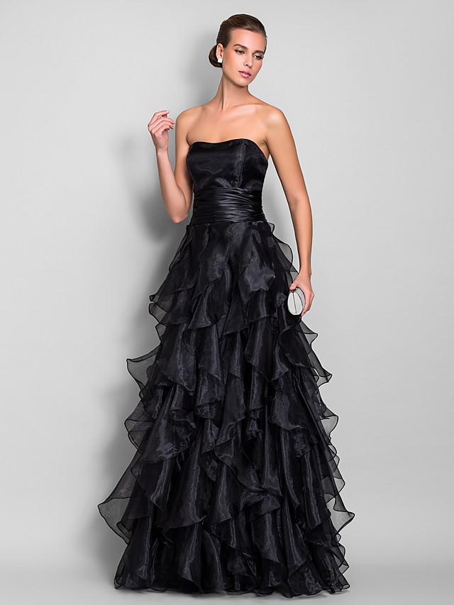 A-Line Elegant Black Prom Formal Evening Dress Strapless Sleeveless Floor Length Organza with Ruffles Tier 2020