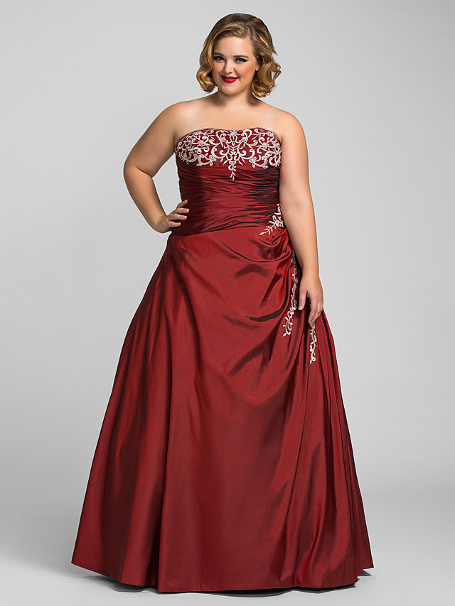 Ball Gown Plus Size Prom Formal Evening Dress Strapless Sleeveless Floor Length Taffeta with Beading Appliques 2021