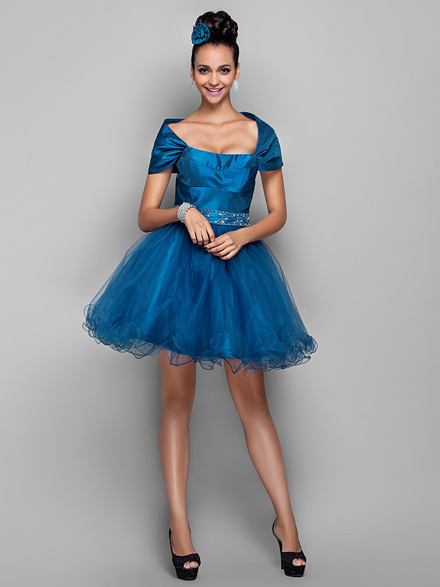 A-Line Elegant Holiday Cocktail Party Prom Dress Off Shoulder Sleeveless Short / Mini Taffeta Tulle with Beading Ruffles 2020