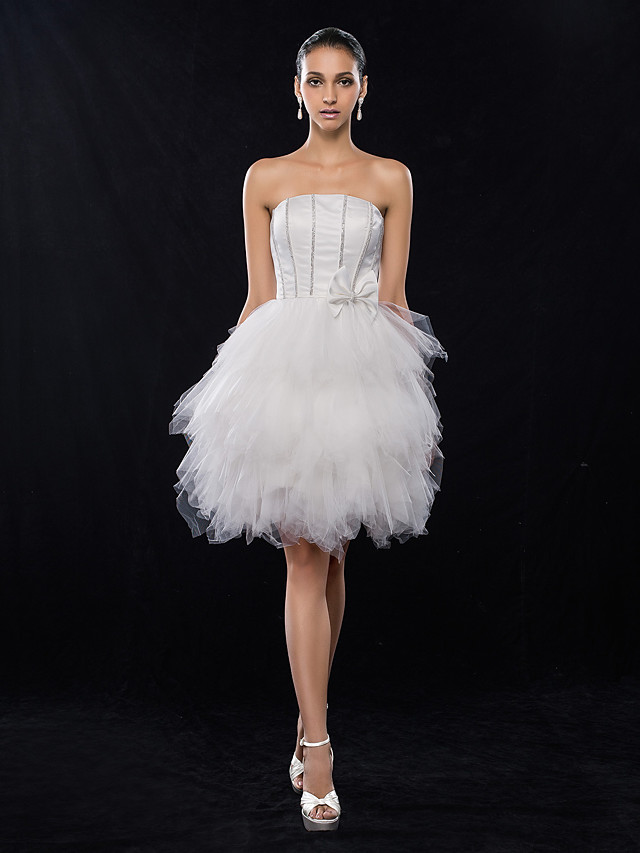A-Line Holiday Homecoming Graduation Dress Strapless Sleeveless Knee Length Satin Tulle with Bow(s) Beading 2020 / Cocktail Party / Prom
