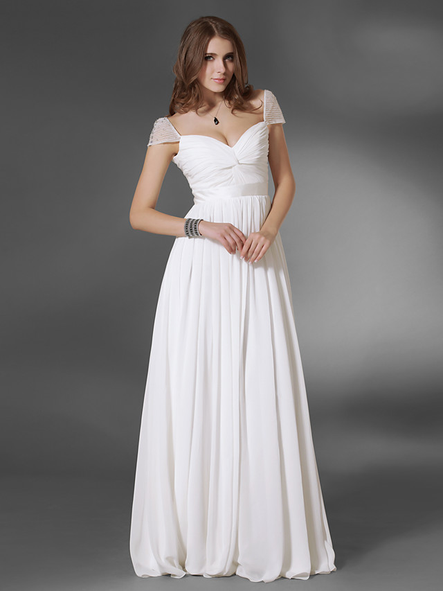 A-Line Minimalist Elegant Prom Formal Evening Dress V Neck Short Sleeve Floor Length Chiffon with Sash / Ribbon Ruched 2021