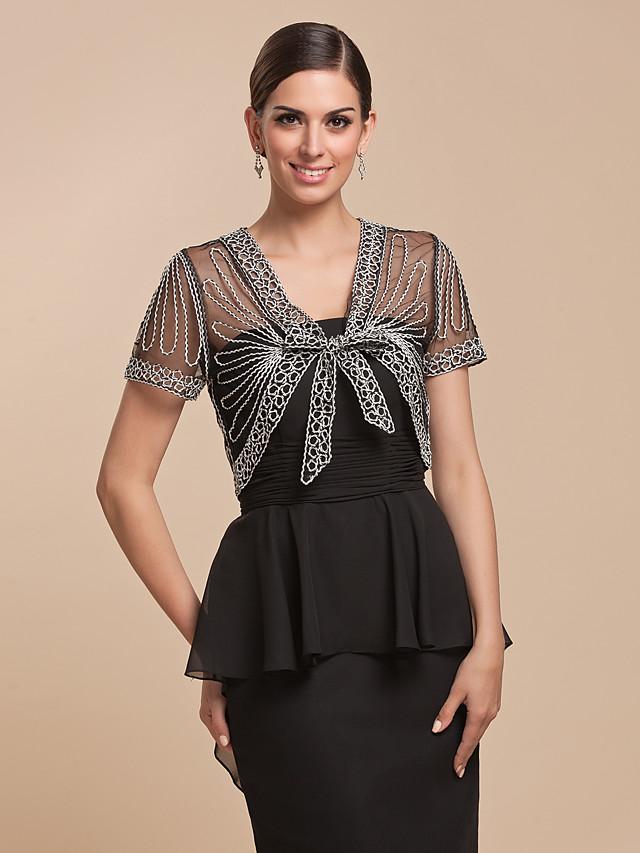 Short Sleeve Shrugs Lace / Tulle / Cotton Party Evening Wedding  Wraps / Bolero With Pattern