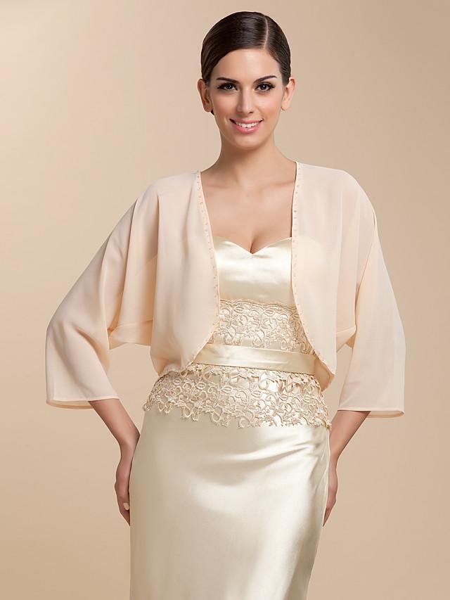 Coats / Jackets Chiffon Party Evening / Casual Wedding  Wraps / Bolero With Draping / Solid