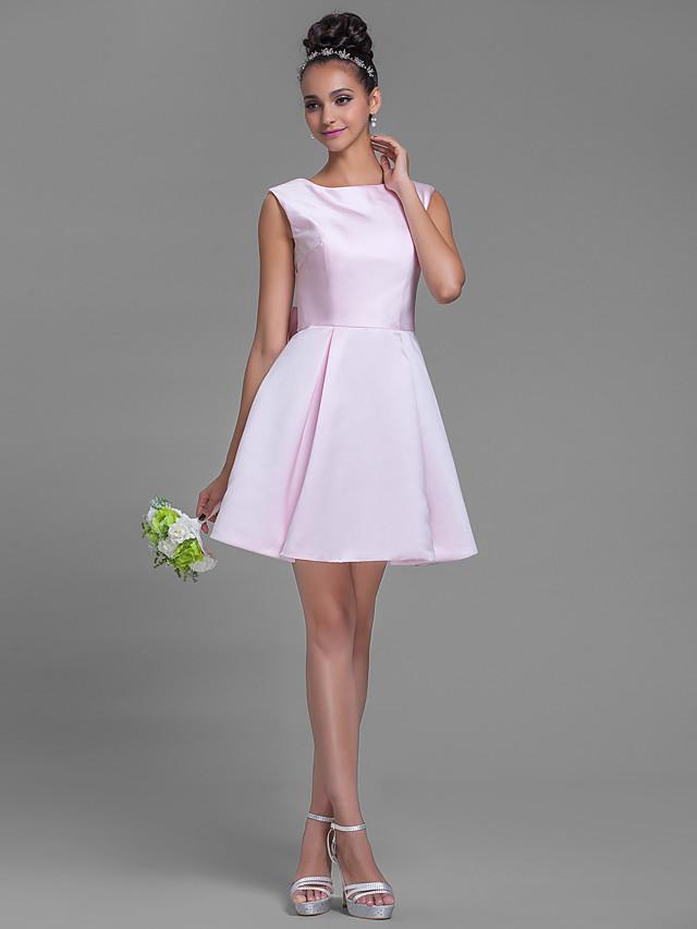 A-Line Bateau Neck Short / Mini Satin Bridesmaid Dress with Bow(s)