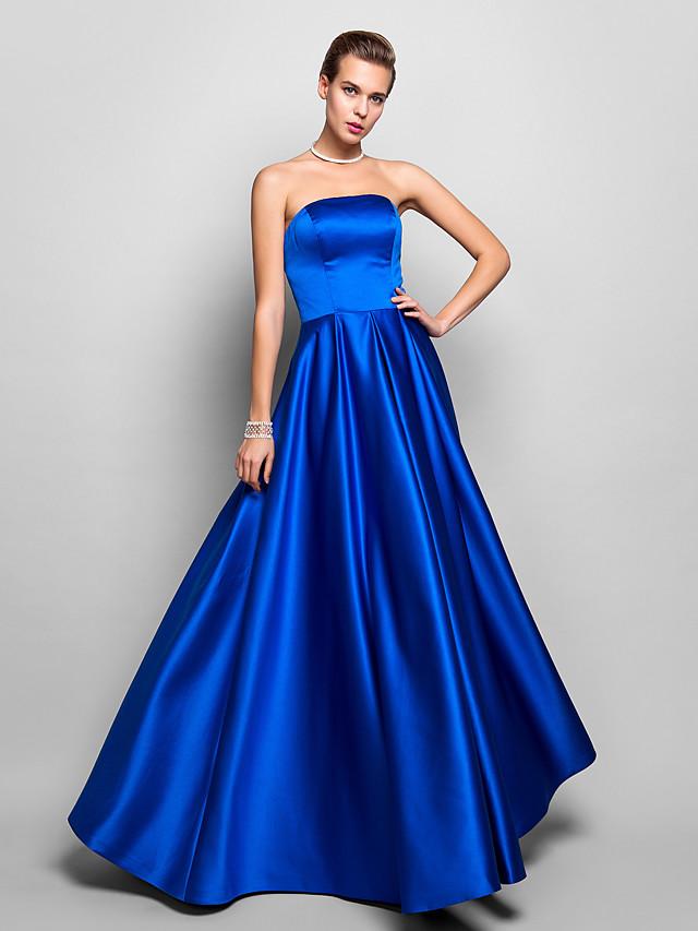 A-Line Elegant Blue Prom Formal Evening Dress Strapless Sleeveless Floor Length Satin with Pleats 2020