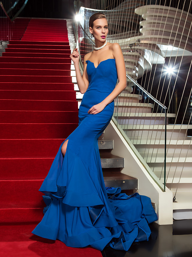 Mermaid / Trumpet Celebrity Style Inspired by Emmy Holiday Cocktail Party Formal Evening Dress Strapless Sleeveless Sweep / Brush Train Chiffon with Ruffles Split Front 2020