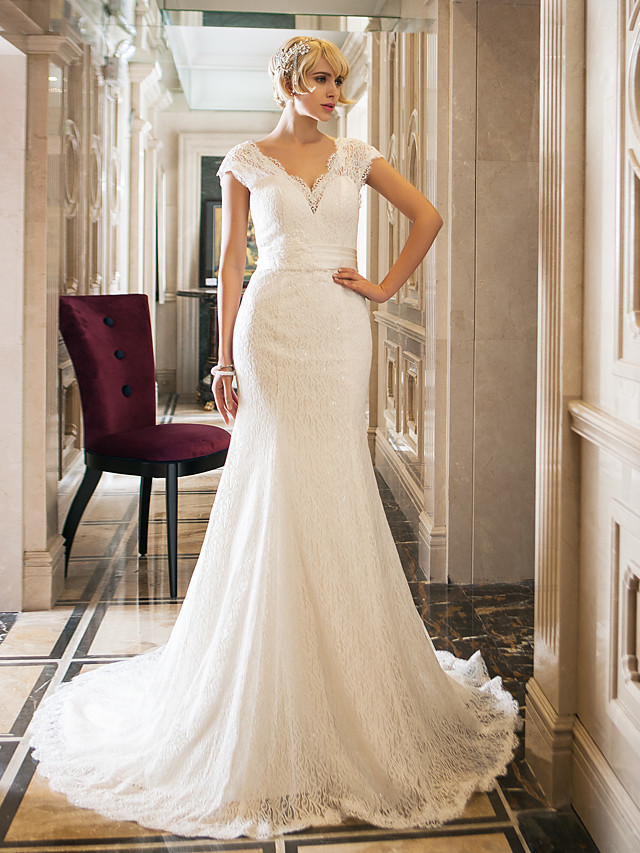 Mermaid / Trumpet Queen Anne Court Train Lace / Stretch Satin Made-To-Measure Wedding Dresses with by / Open Back