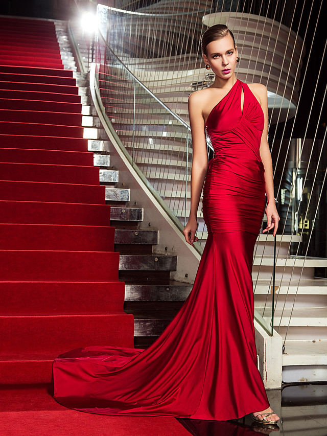 Mermaid / Trumpet Celebrity Style Beautiful Back Holiday Cocktail Party Formal Evening Dress One Shoulder Sleeveless Sweep / Brush Train Jersey with Criss Cross Beading Side Draping 2020
