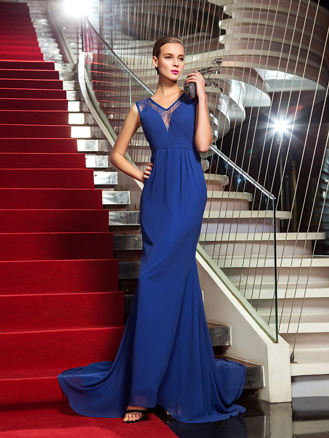 Mermaid / Trumpet Celebrity Style All Celebrity Styles Inspired by Emmy Formal Evening Dress Illusion Neck Sleeveless Sweep / Brush Train Chiffon Lace with Side Draping 2020 / Vintage Inspired