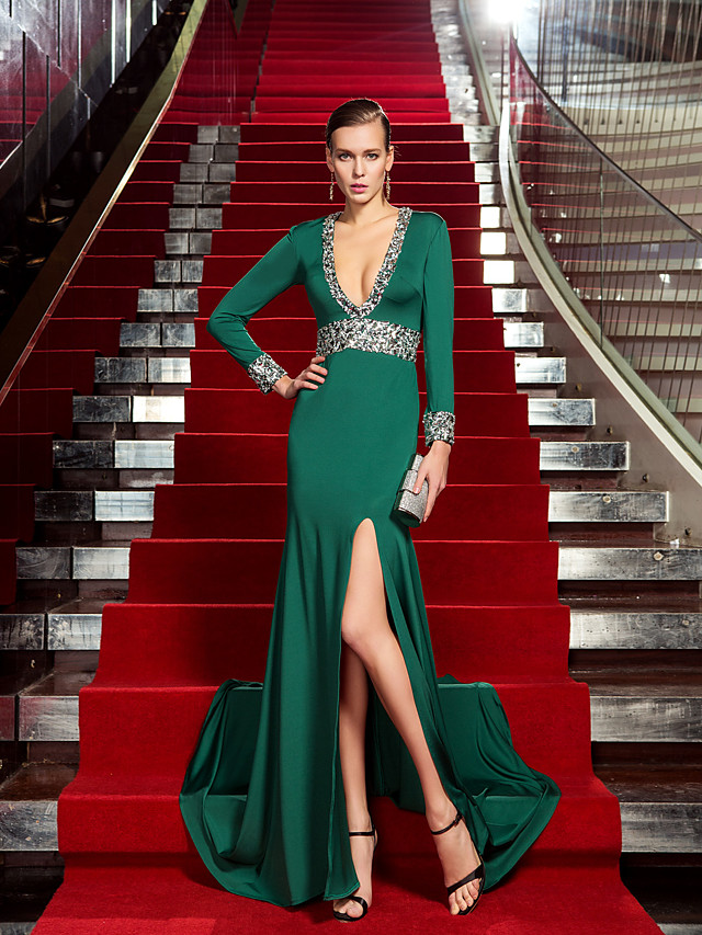 Sheath / Column Celebrity Style Formal Evening Dress Plunging Neck Long Sleeve Sweep / Brush Train Jersey with Crystals 2020