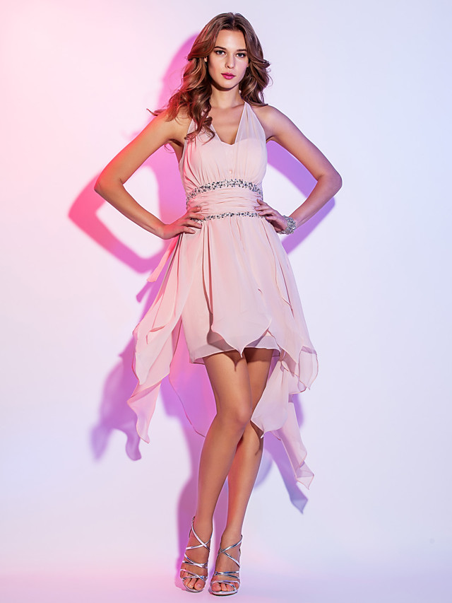 A-Line High Low Homecoming Cocktail Party Dress Halter Neck Sleeveless Asymmetrical Chiffon with Ruched Beading 2021