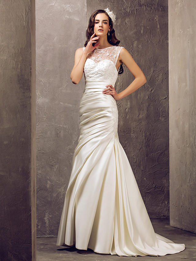 Mermaid / Trumpet Illusion Neck Sweep / Brush Train Lace / Satin Made-To-Measure Wedding Dresses with Beading / Appliques / Button by LAN TING BRIDE®