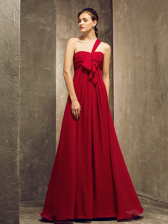 Sheath / Column One Shoulder Floor Length Chiffon Bridesmaid Dress with Ruched / Ruffles / Draping